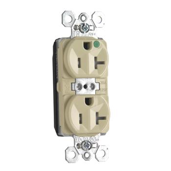 Pass & Seymour PTTR8300-I PlugTail 20 Amp 125 Volt Ivory Tamper Resistant Hospital Grade Duplex Receptacle