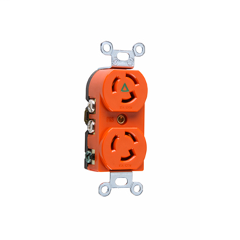 Pass & Seymour IG4700 15 Amp 125 VAC 2-Pole 3-Wire NEMA L5-15R Orange Nylon Duplex Isolated Ground Receptacle