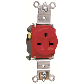 Pass & Seymour 5871-RED 20 Amp 250 VAC 2-Pole 3-Wire NEMA 6-20R Red Nylon Face Thermoplastic Back Body Single Receptacle