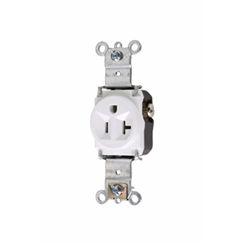 Pass & Seymour 5361-W 20 Amp 125 VAC 2-Pole 3-Wire NEMA 5-20R White Nylon Face Heavy Duty Single Receptacle