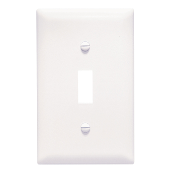 Pass & Seymour TPJ1-W 1-Gang 1-Toggle Switch White Nylon Jumbo Unbreakable Wallplate