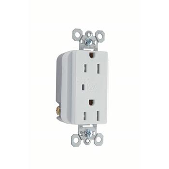 Pass & Seymour TR5252WSP 15 Amp 125 VAC 2-Pole 3-Wire NEMA 5-15R White Nylon Surge Protective Duplex Receptacle