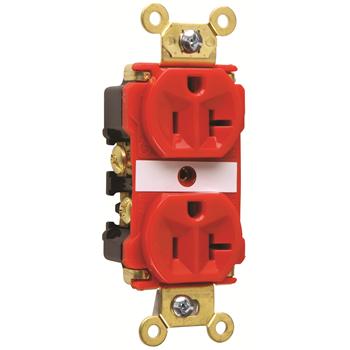 Pass & Seymour 5362-ARED 20 Amp 125 VAC 2-Pole 3-Wire NEMA 5-20R Red Nylon Duplex Receptacle