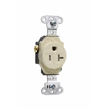 Pass & Seymour TR5351-I 20 Amp 125 VAC 2-Pole 3-Wire NEMA 5-20R Ivory Nylon Face Tamper-Resistant Single Receptacle