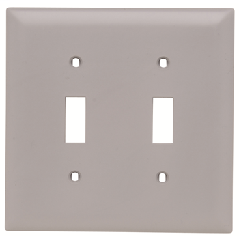 Pass & Seymour TP2-GRY 2-Gang 2-Toggle Switch Gray Nylon Standard Unbreakable Wallplate