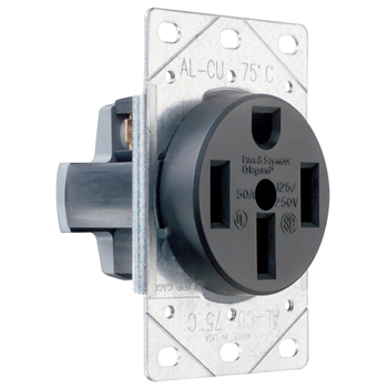 Pass & Seymour 3894 50 Amp 125/250 VAC 3-Pole 4-Wire NEMA 14-50R Flush Mount Straight Blade Power Receptacle