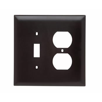 Pass & Seymour TPJ18 Brown 1-Toggle Switch and 1-Duplex Receptacle 2-Gang Combination Openings Wall Plate