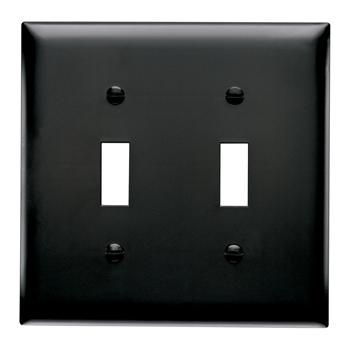 Pass & Seymour TP2-BK 2-Gang 2-Toggle Switch Black Nylon Standard Unbreakable Wallplate