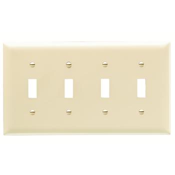 Pass & Seymour TP4-I 4-Gang 4-Toggle Switch Ivory Nylon Standard Unbreakable Wallplate