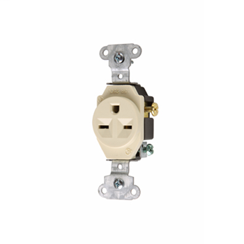 Pass & Seymour 5651-I 15 Amp 250 VAC 2-Pole 3-Wire NEMA 6-15R Ivory Single Heavy Duty Receptacle