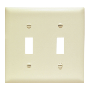 Toggle Switch Openings, Two Gang, Ivory TPJ2I