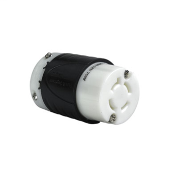 Pass & Seymour L1420-C 20 Amp 125/250 VAC 3-Pole 4-Wire L14-20R Black and White Nylon Locking Connector