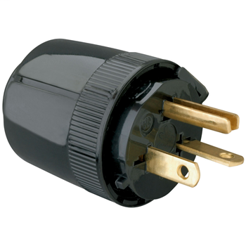 Pass & Seymour 5864-BK 20 Amp 250 VAC 2-Pole 3-Wire NEMA 6-20P Black Nylon Dead Front Polarized Straight Blade Plug