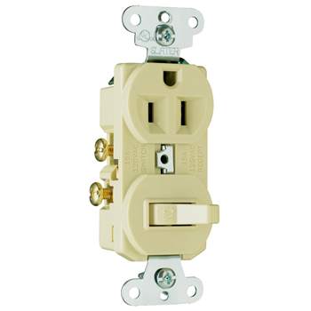 Pass & Seymour 691-I Single Pole Switch, Single Receptacle Combination Switch, 15 Amps, 120/125 Volts, Ivory