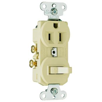 Mayer-15A, 120/125V Combination Single-Pole Switch & Single Receptacle, Ivory 691I-1