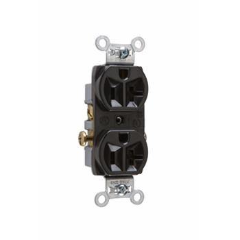 Pass & Seymour CR20-BK Commercial Spec Grade Duplex Receptacle Side Wire 20Amp 125Volt Black