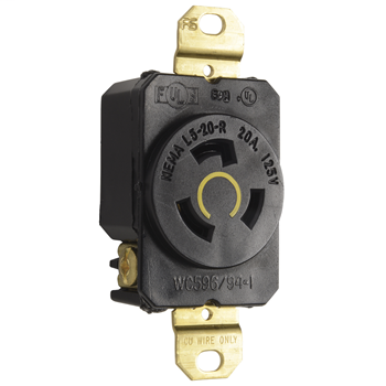 Pass & Seymour L520-R 20 Amp 125 VAC 2-Pole 3-Wire NEMA L5-20R Impact-Resistant Nylon Locking Single Receptacle