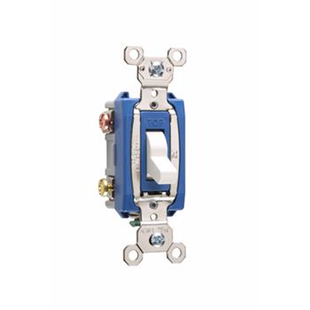 Pass & Seymour PS15AC3-W 15 Amp 120/277 VAC 3-Way White Glass Reinforced Nylon Screw Mounting Toggle Switch
