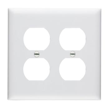 Pass & Seymour TP82-W 2-Gang 2-Duplex Receptacle White Nylon Standard Unbreakable Wallplate