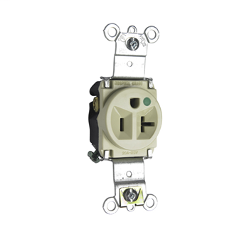 Pass & Seymour 8301-I 20 Amp 125 VAC 2-Pole 3-Wire NEMA 5-20R Ivory Nylon Face Thermoplastic Back Body Single Receptacle