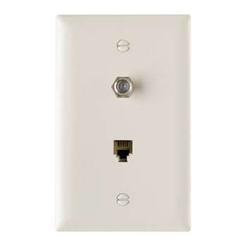 On-Q TPTELTV-LA 1-Gang 1-F-Coaxial Connector 1-RJ11 Modular Jack Light Almond Thermoplastic Communication Wallplate