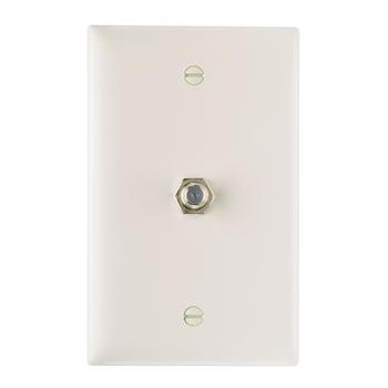 On-Q TPCATV-LA 1-Gang 1-F-Coaxial Connector Light Almond Nickel Plated Steel Standard Communication Wallplate