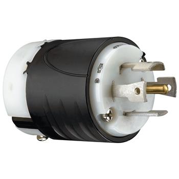 Pass & Seymour L2130-P 30 Amp 120/208 VAC Star 3-Phase 4-Pole 5-Wire NEMA L21-30P Black and White Nylon Straight Locking Plug