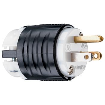 Pass & Seymour PS5266-X 15 Amp 125 VAC 2-Pole 3-Wire NEMA 5-15P Black and White Nylon Polarized Straight Blade Plug