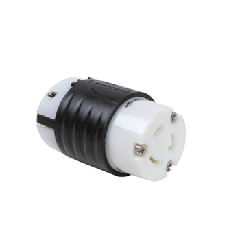 Pass & Seymour L620-C 20 Amp 250 VAC 2-Pole 3-Wire L6-20R Black and White Nylon Locking Connector