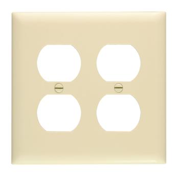 Pass & Seymour TP82-I 2-Gang 2-Duplex Receptacle Ivory Nylon Standard Unbreakable Wallplate