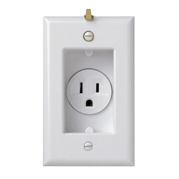 Mayer-Clock Hanger Receptacles, Recessed with Smooth Wall Plate, 15A, 125V, White S3713W-1