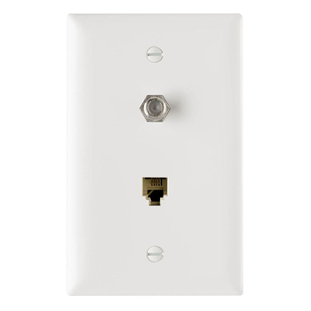 On-Q TPTELTV-W 1-Gang 1-F-Coaxial Connector 1-RJ11 Modular Jack White Thermoplastic Communication Wallplate