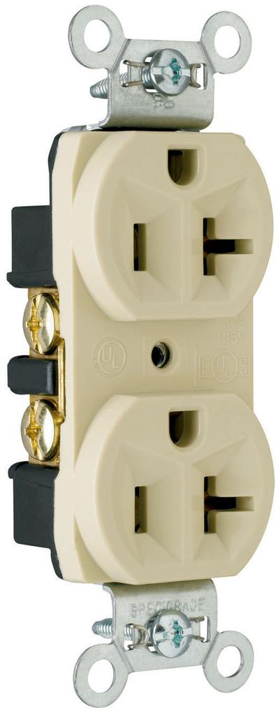 Pass & Seymour CRB5362-I 20 Amp 125 VAC 2-Pole 3-Wire NEMA 5-20R Ivory Nylon Face Duplex Straight Blade Receptacle
