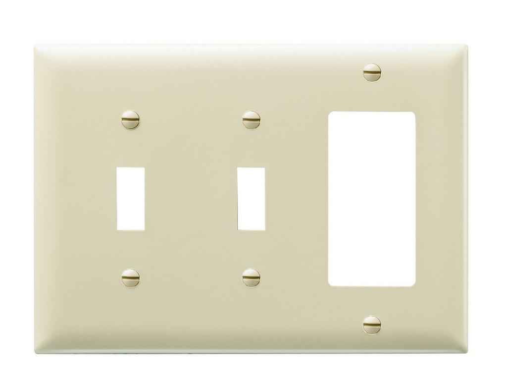 Pass & Seymour TP226-W 3-Gang 2-Toggle Switch 1-Decorator White Nylon Standard Combination Unbreakable Wallplate