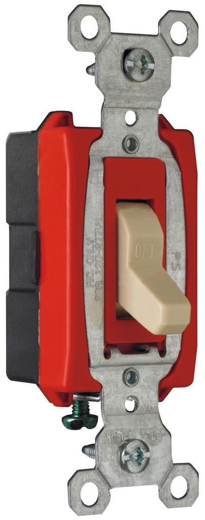 Pass & Seymour CS20AC1-I 20 Amp 120/277 VAC 1-Pole Ivory Glass Reinforced Nylon Screw Mounting Toggle Switch