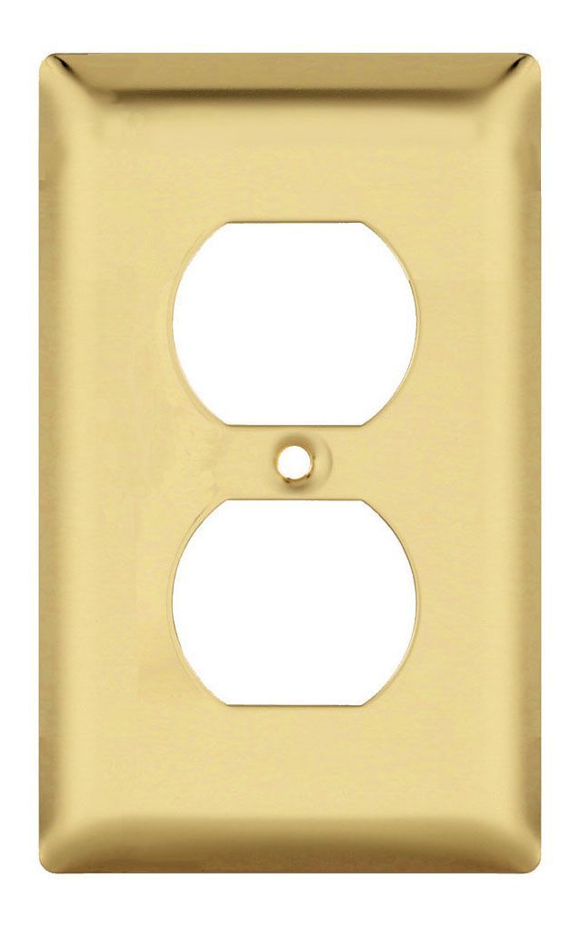 Duplex Receptacle Openings, One Gang, Polished Brass