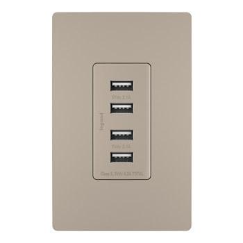 Pass & Seymour TM8USB4NICC6 125 Volt 5 VDC 4.2 Amp 4-Port 1.693 x 1.33 x 3.281 Inch Nickel Decorator Quad USB Charger