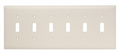 Pass & Seymour TP6-LA 6-Gang 6-Toggle Switch Light Almond Nylon Standard Unbreakable Wallplate