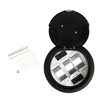Legrand Wiremold 8ATC2PBK Evolution 8ATC2P Series Recessed Prewired Black Poke Through Device Assembly
