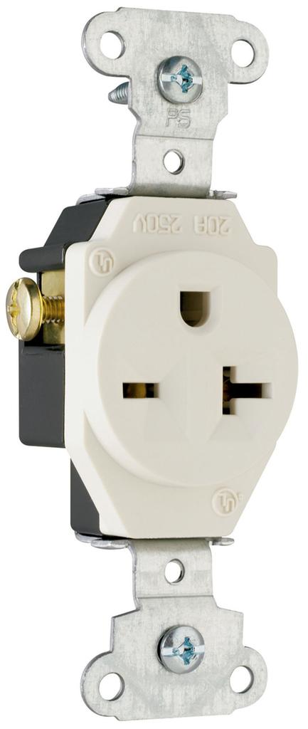 Pass & Seymour 5851-LA 20 Amp 250 VAC 2-Pole 3-Wire NEMA 6-20R Light Almond Heavy Duty Single Receptacle