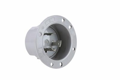 Pass & Seymour L630-FI 30 Amp 250 Volt 3-Wire NEMA L6-30P Gray Brass Locking Device Flanged Inlet