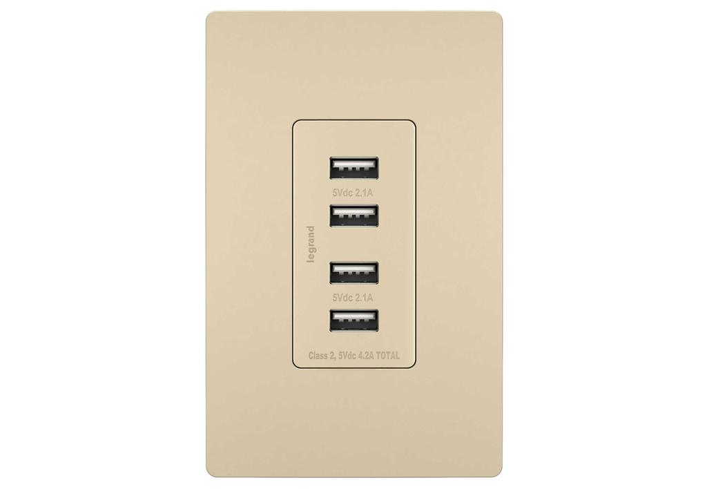 Pass & Seymour TM8USB4-ICC6 125 Volt 5 VDC 4.2 Amp 4-Port 1.693 x 1.33 x 3.281 Inch Ivory Decorator Quad USB Charger