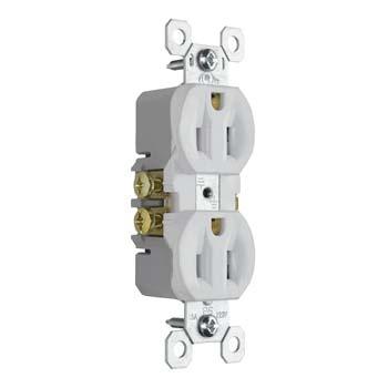 Pass & Seymour 3232-TRW 15 Amp 125 VAC 2-Pole 3-Wire NEMA 5-15R Tamper Resistant Duplex Receptacle, White