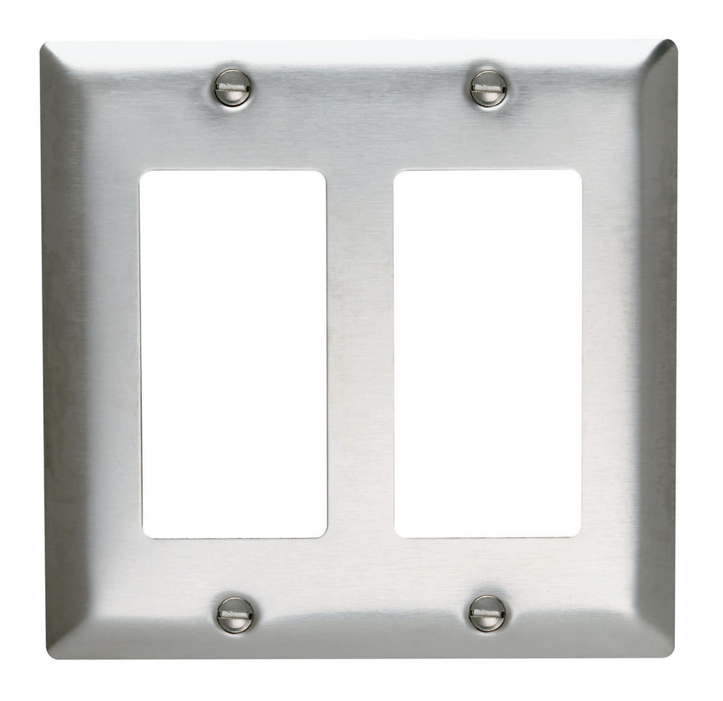 Pass & Seymour SS262 2-Gang 2-Decorator Smooth Brushed Stainless Steel Standard Wallplate