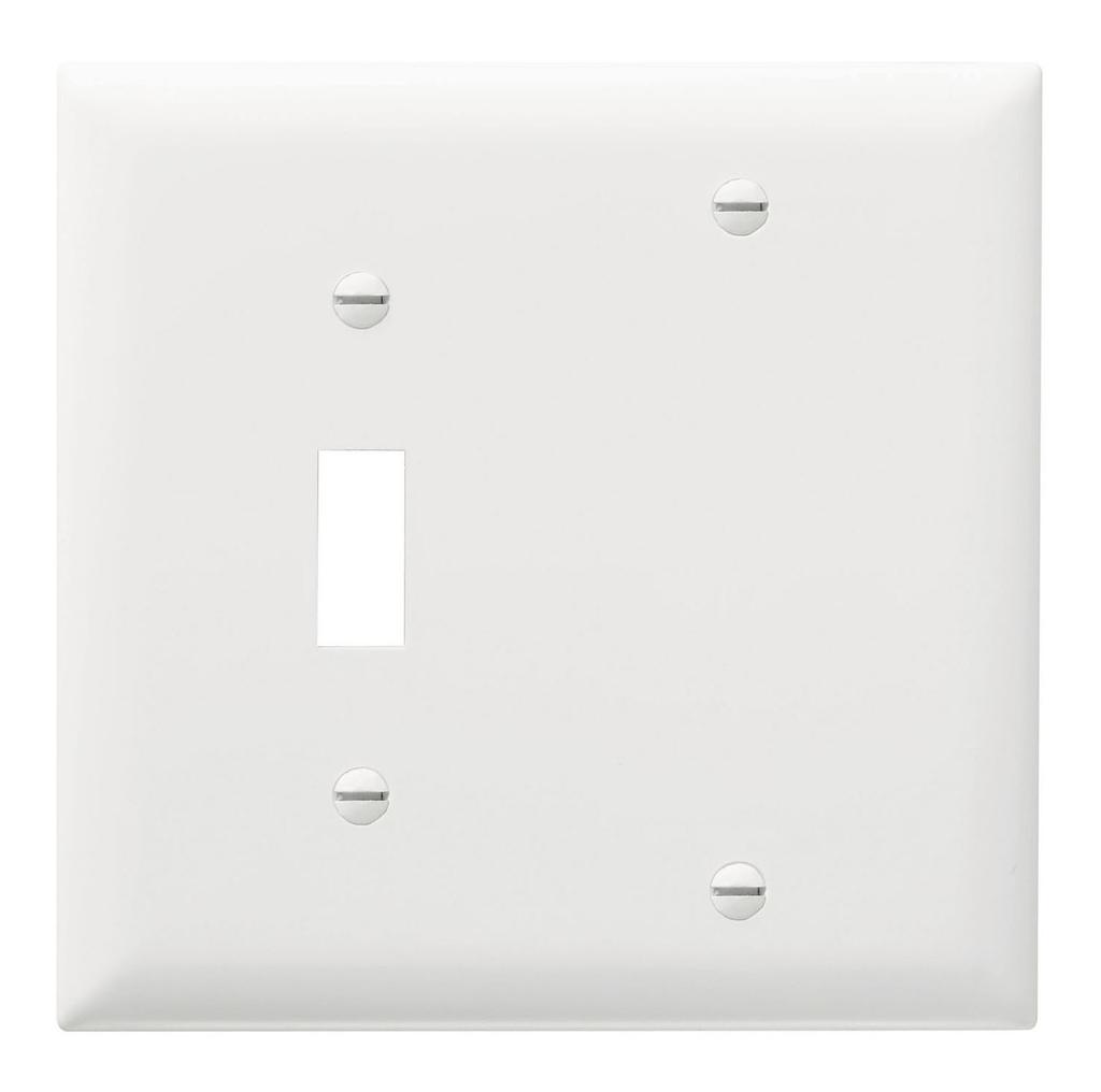 Pass & Seymour TP113-W 2-Gang 1-Toggle 1-Blank White Nylon Standard Combination Unbreakable Wallplate