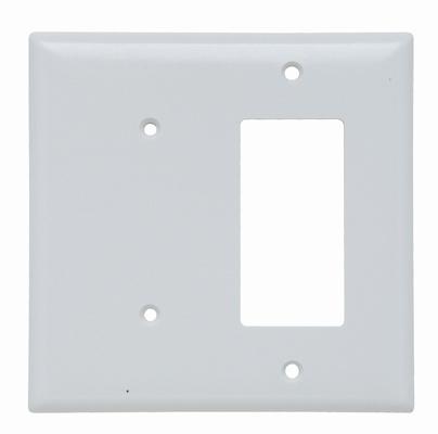 Pass & Seymour SPJ1426-W 2-Gang 1-Blank 1-Decorator White Smooth Thermoset Plastic Junior-Jumbo Combination Wallplate