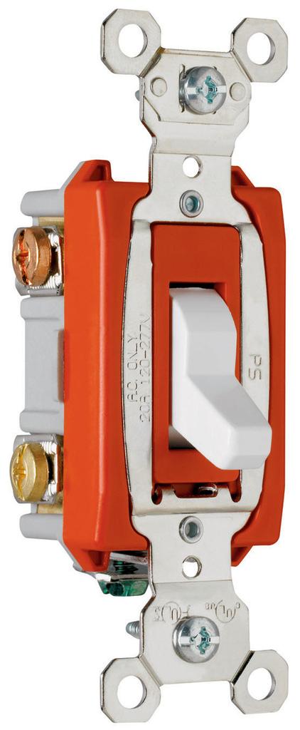 Pass & Seymour PS20AC3-W 20 Amp 120/277 VAC 3-Way White Glass Reinforced Nylon Screw Mounting Toggle Switch