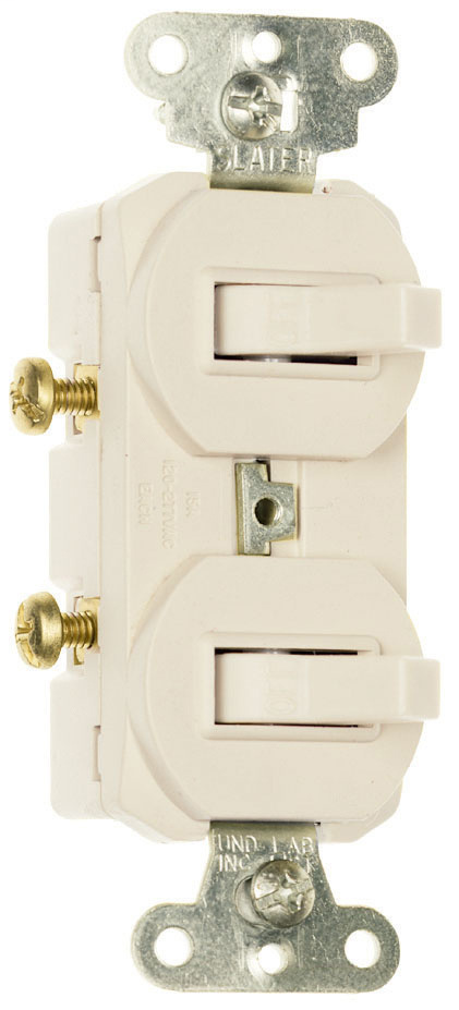 Pass & Seymour 696-W 15 Amp 120/277 VAC 1-Pole 3-Way White Non-Grounding Duplex Combination Switch