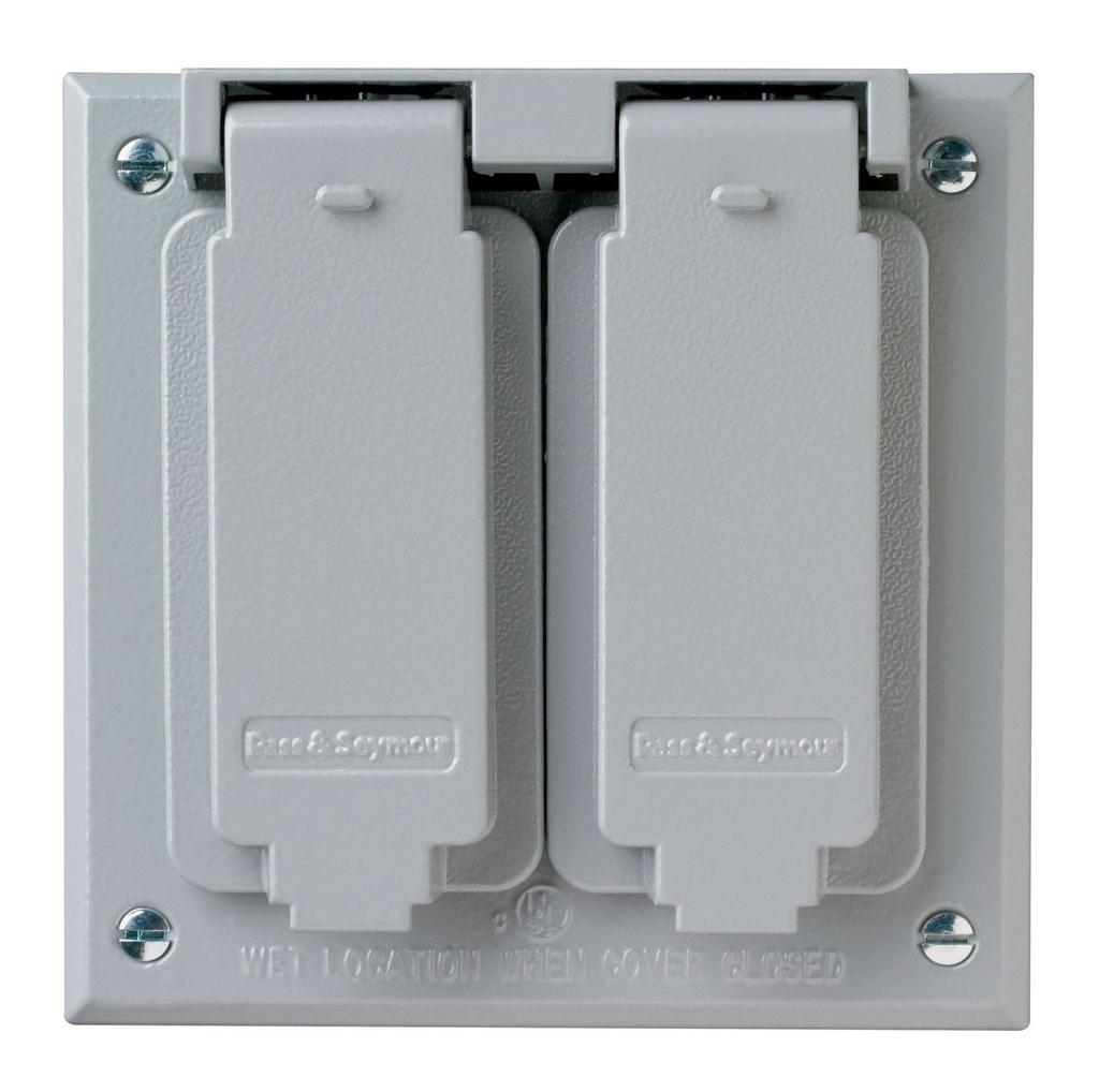 Pass & Seymour CA268G 2-Gang Gray Die-Cast Zinc Decorator Self Closing Weatherproof Box Cover