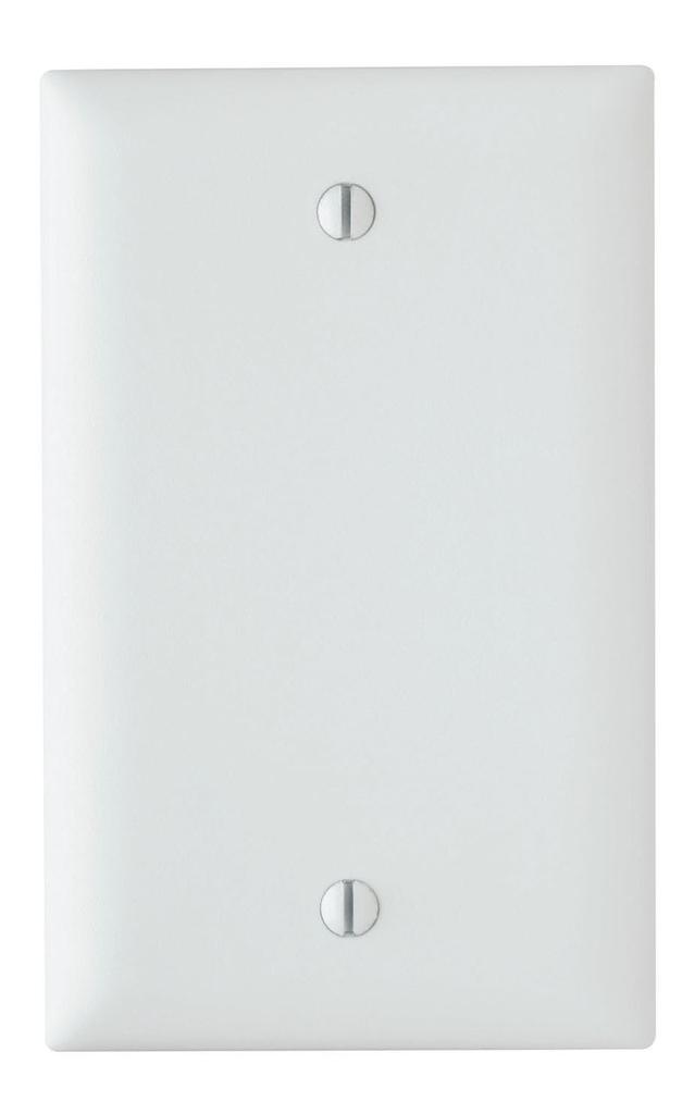 Pass & Seymour TP13-W 1-Gang Blank White Nylon Standard Unbreakable Wallplate